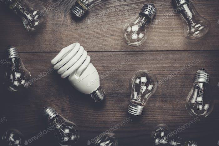 Glühbirne Einzigartigkeit Konzept