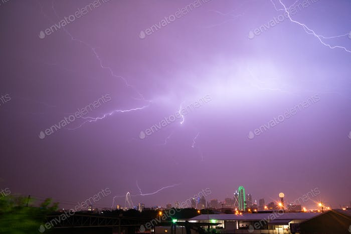 Lightning Electrical Storm Dallas Texas City Skyline