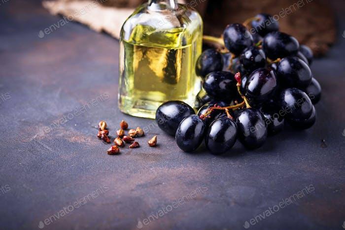 Grape seeds oil in small bottles