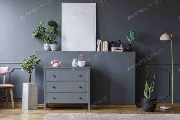 Plant next to grey cabinet with pink phone in living room interi