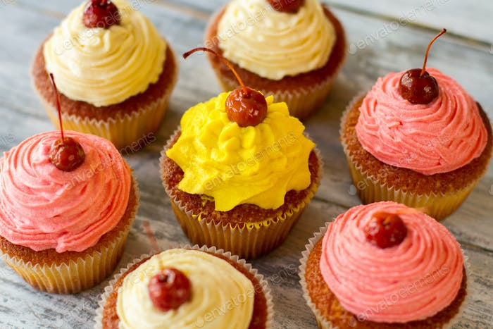 Cupcakes with bright icing