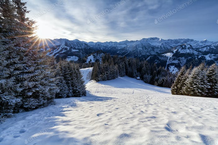 morning sunshine in snowy Alps