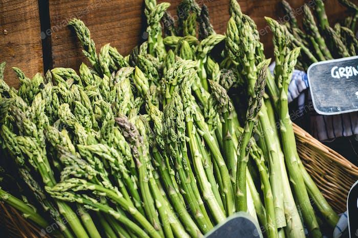Fresh asparagus on a market