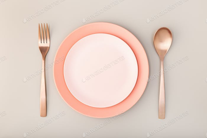Empty Plate, fork and knife on Table
