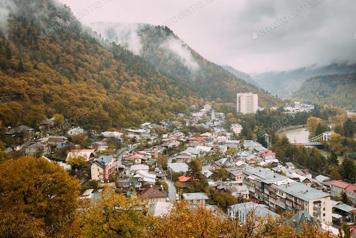 Borjomi, Samtskhe-Javakheti, Georgia. Aerial View Cityscape Of B