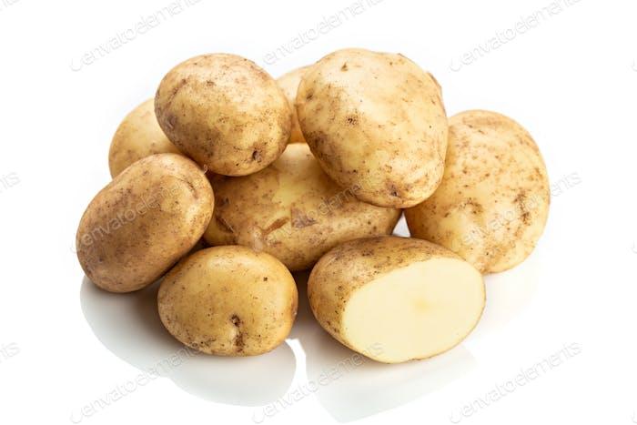 Fresh new potatoes isolated on white background