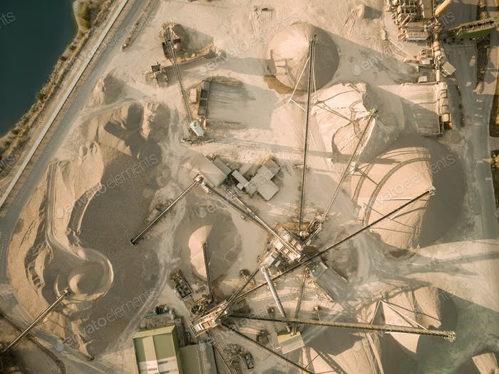 aerial view of sand mine with conveyors