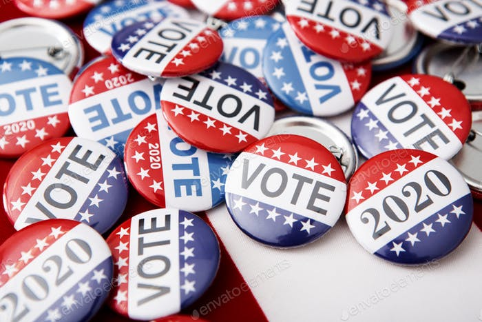 2020 election campaign pins on American flag, vote butto