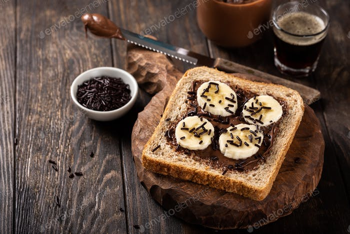 Thumbnail for Delicious open sandwich with chocolate and banana