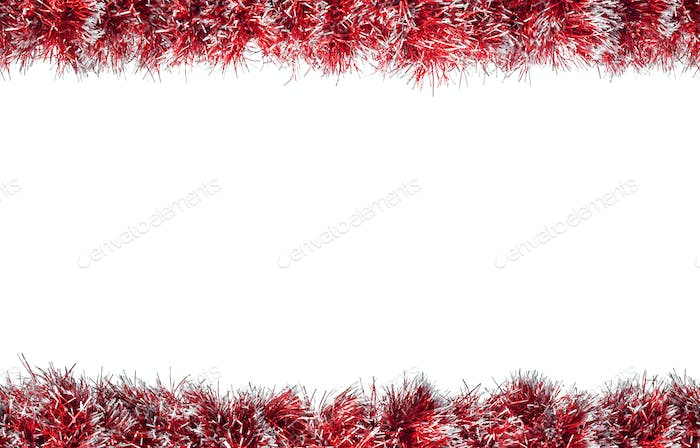 Seamless Christmas red silver tinsel frame