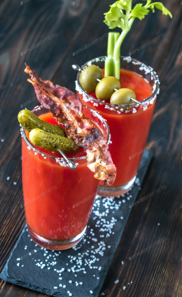 Two glasses of Bloody Mary