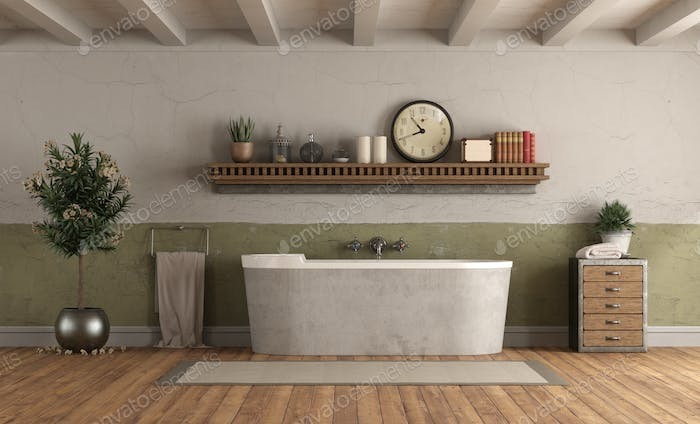 Home bathroom in rerto style with bathtub