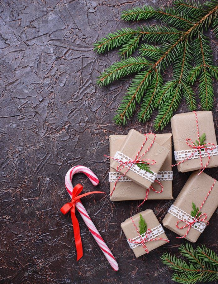Gift boxes and  candy cane