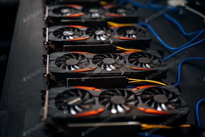 Crypto currency mining components with graphics cards and gpu