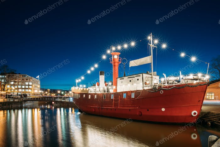 Helsinki, Finland. Moored Steamboat Restaurant In Evening Night