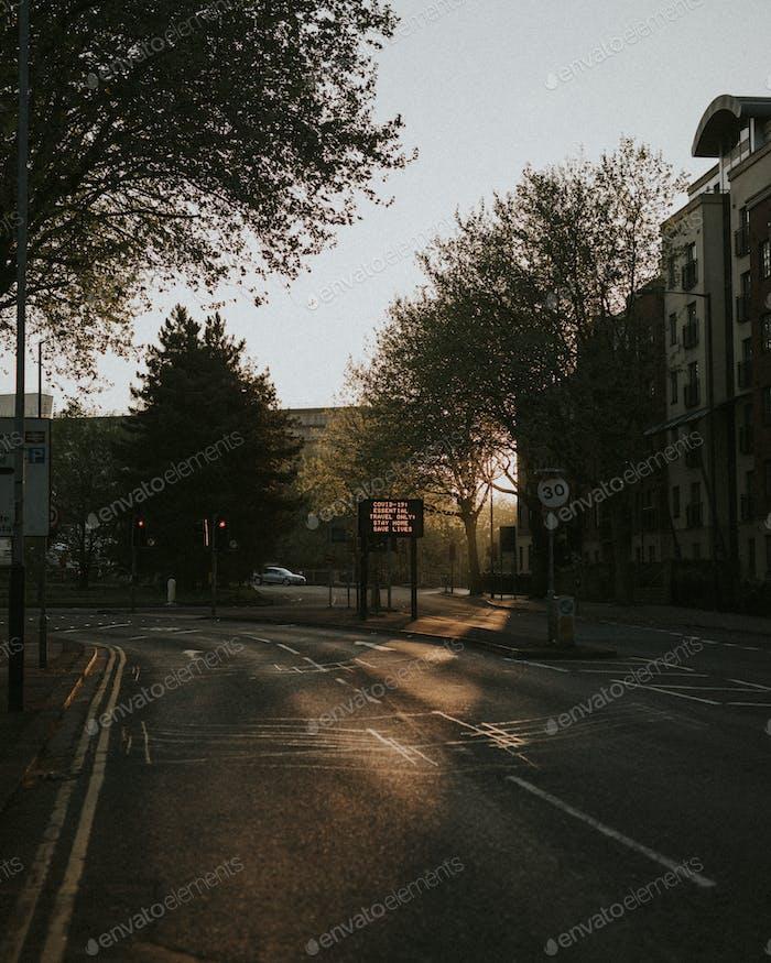 Empty streets due to the coronavirus in Bristol, UK