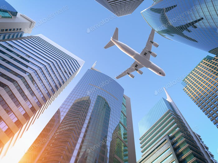 Airplane flying over skyscrapers n city downtown district. Busin