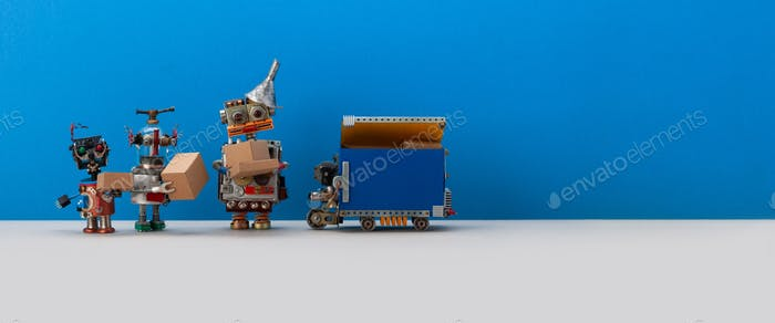 Three happy robots received parcels cardboard boxes and robotic courier truck