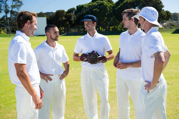 Cricket players standing at field