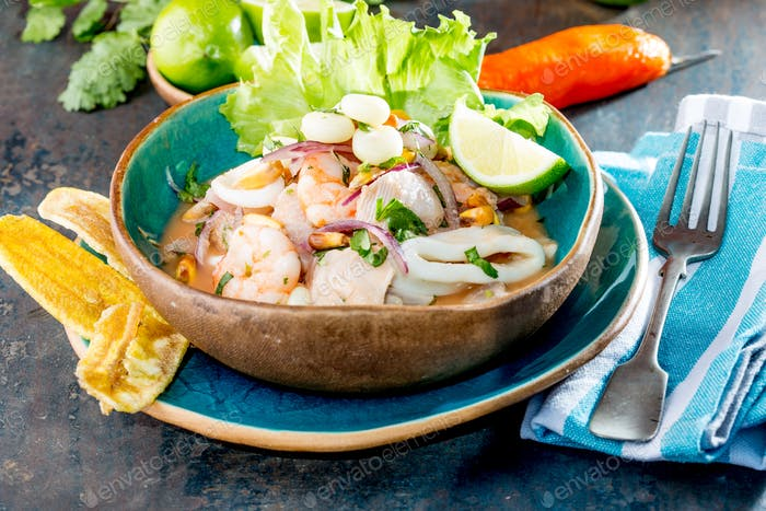 PERUVIAN CEVICHE SEBICHE. Peruvian seafood and fish ceviche with maize.