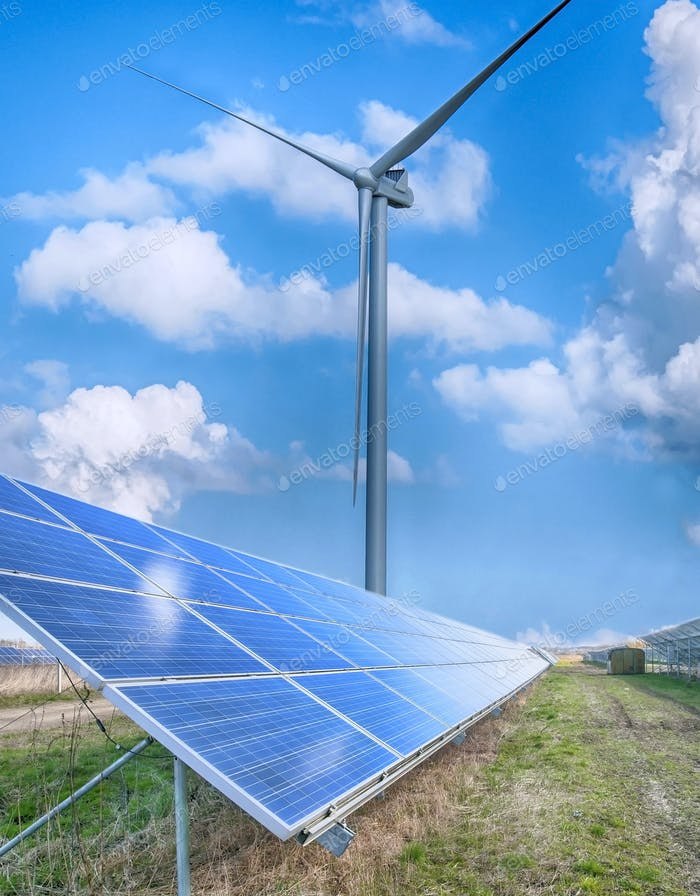 solar panels and wind turbine