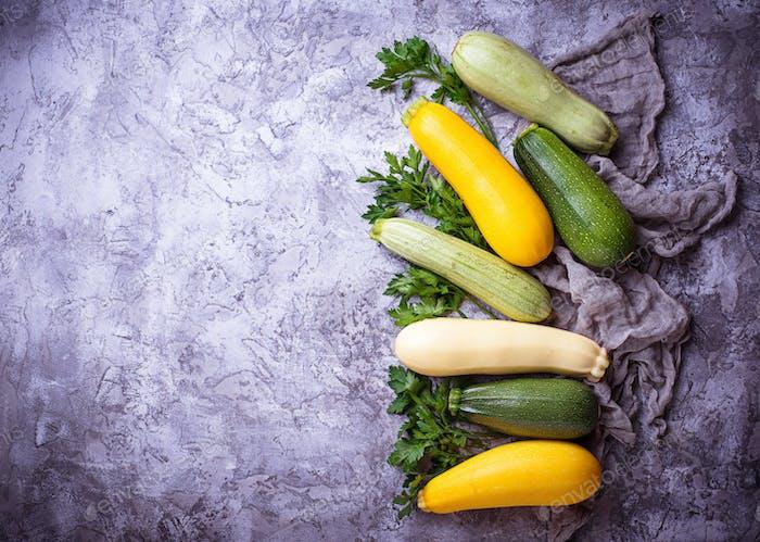Assortment of raw fresh zucchini