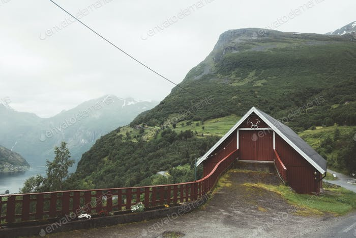 Red garage in norwegian Geiranger village