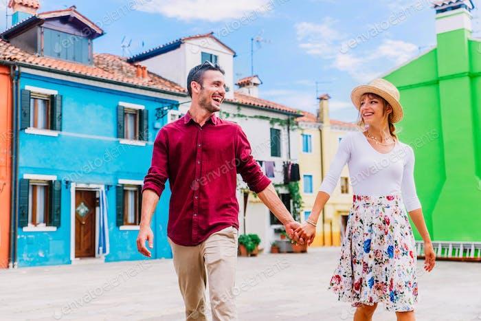 Paar Touristen besuchen Venedig, Italien