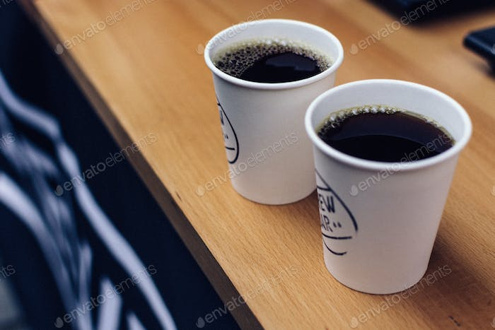 Two brewed coffee take away