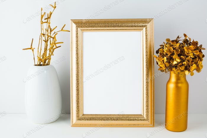 Frame mockup with golden decor