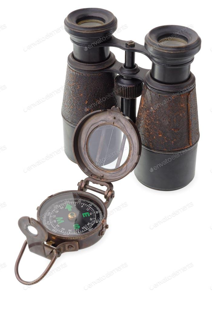 Old compass and binocular
