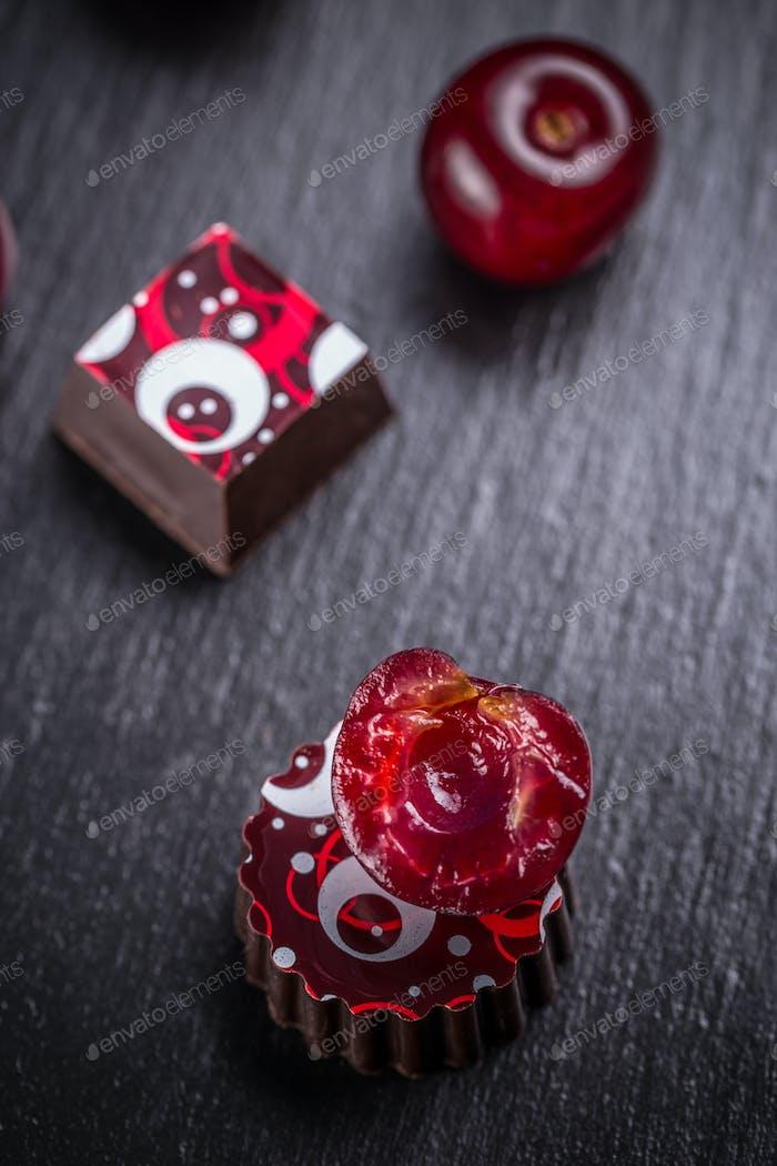 Pralines with cherry