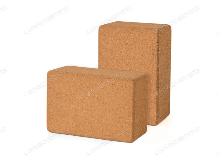 Cork Yoga Blocks Eco Friendly Isolated on White Background, Premium Quantity Eco Friendly