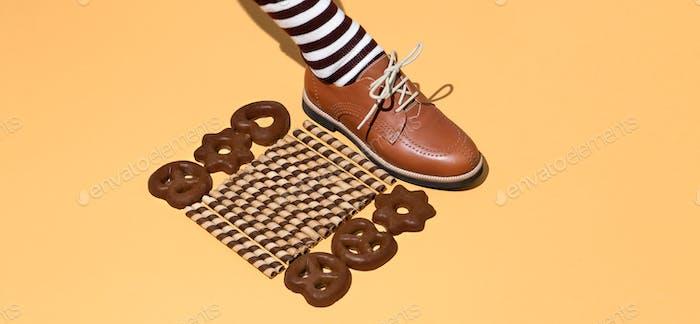 Leg in vintage striped socks