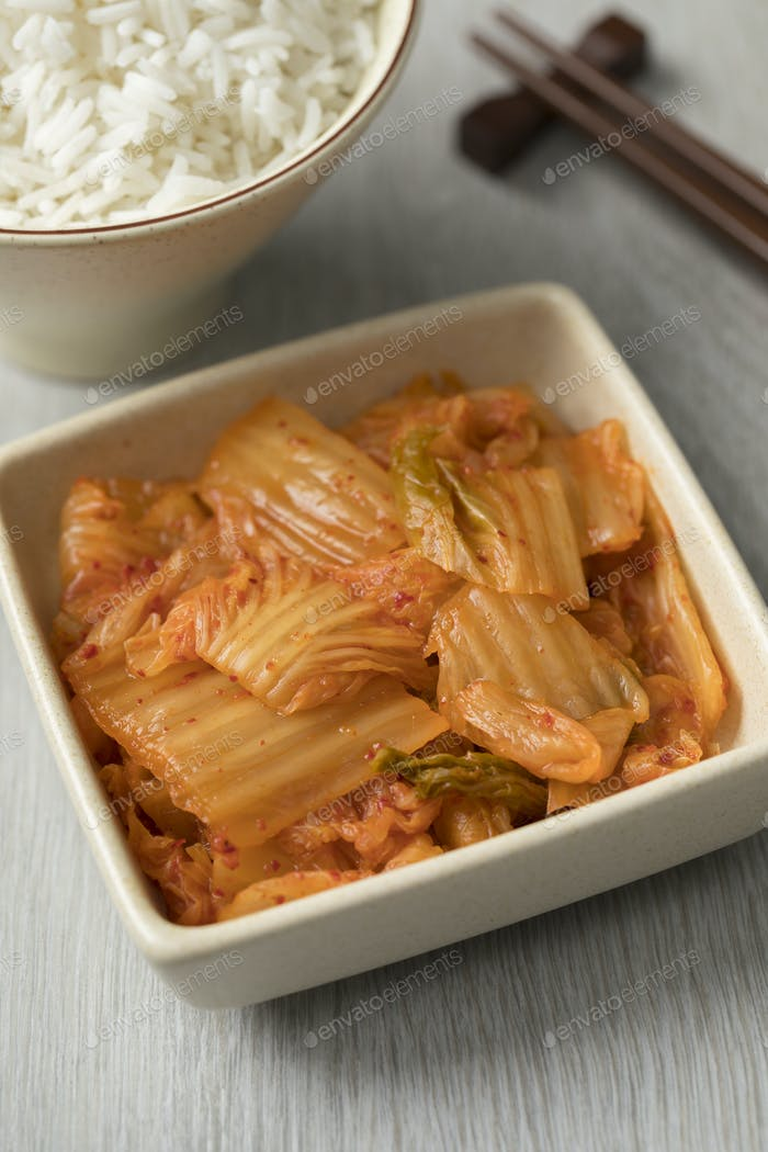 Bowl with traditional Korean Kimchi
