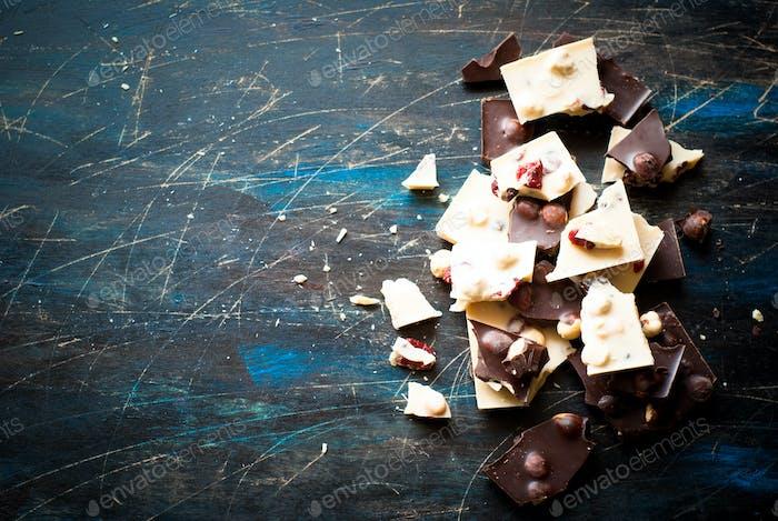 Different varieties of chocolate.