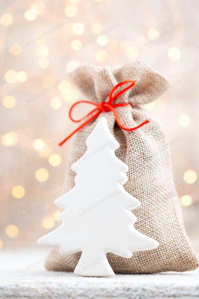 Christmas linen bag for gifts with christmas toys. Christmas Decor.