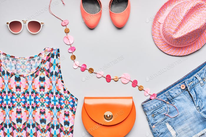 Urban Fashion summer girl clothes accessories set.