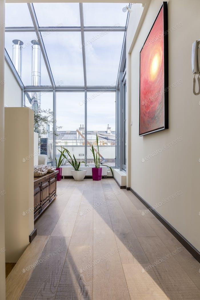 Wohnzimmer mit Glasdach
