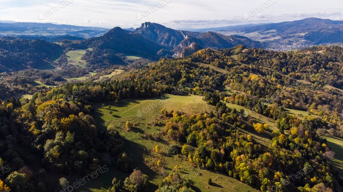 Three Crowns or Trzy Korony Peaks at Pieniny Mountains, Aerial D