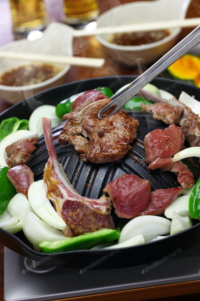 Jingisukan, Dschingis Khan, japanischer Stil Lamm Grill