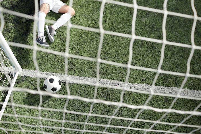Ball in gate and goalkeeper