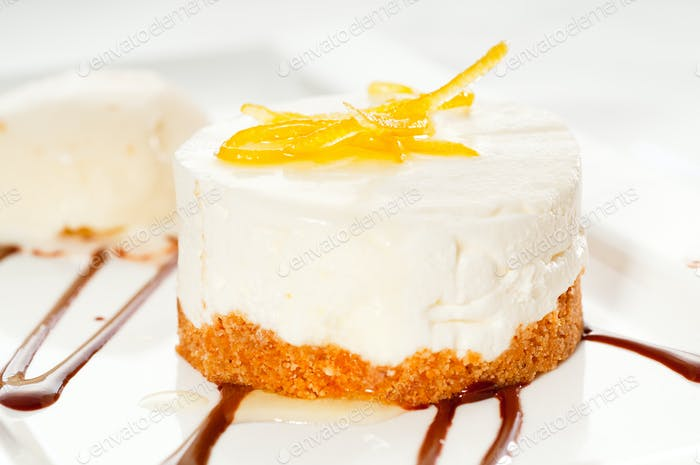 lemon mousse served whith lemon peel on top