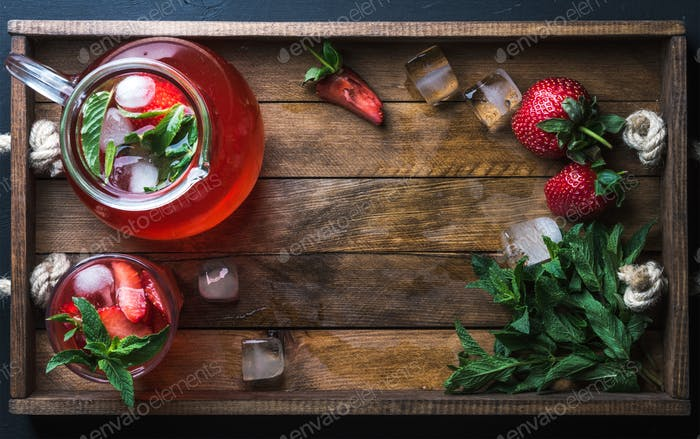 Homemade strawberry mint lemonade