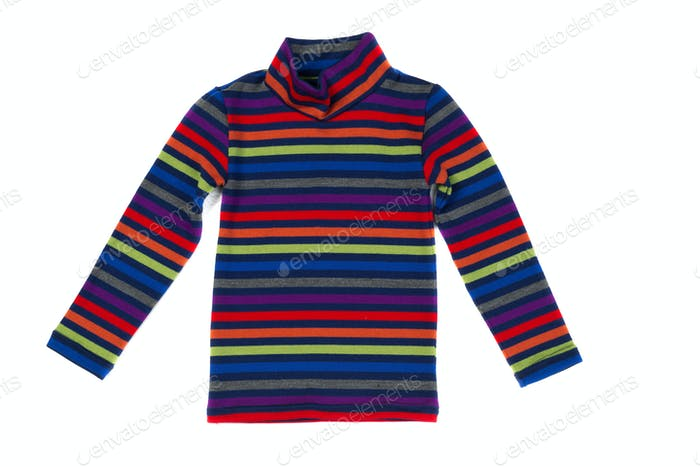 Striped knitted sweater, isolate