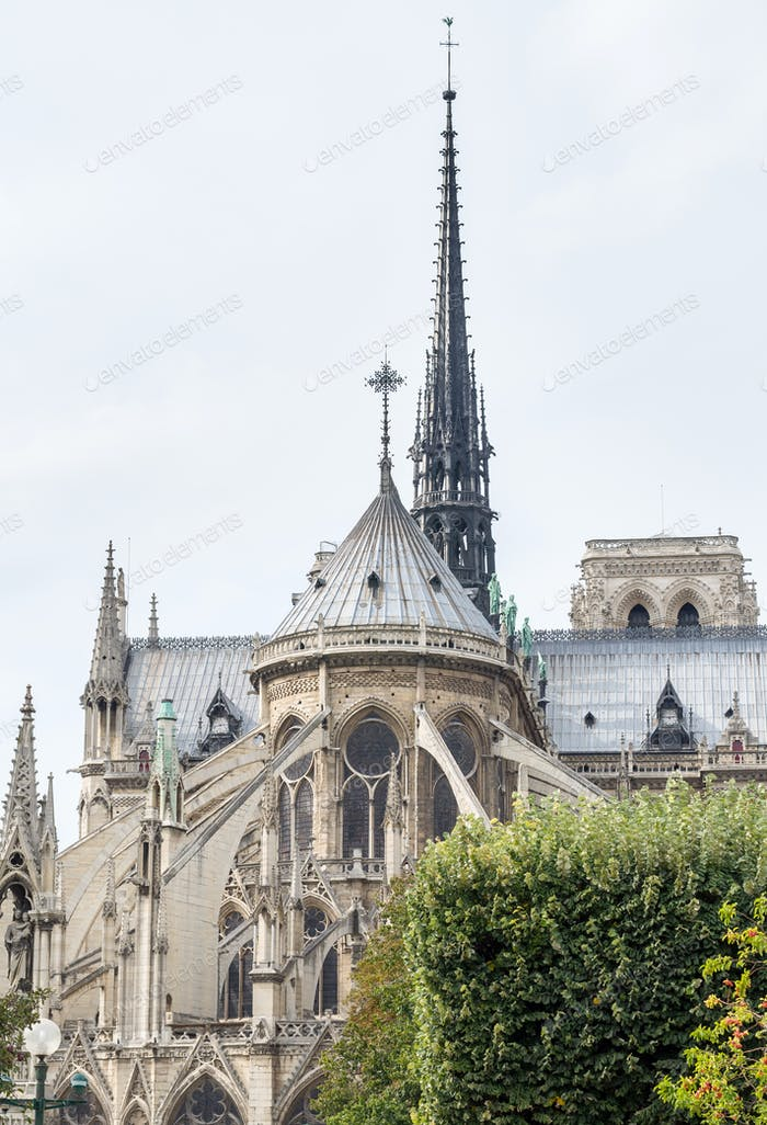 The east facade of catholic cathedral Notre-Dame de Paris.