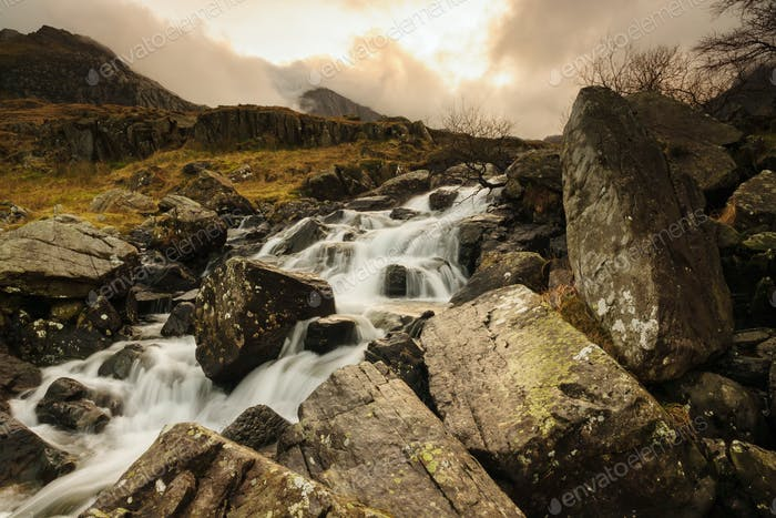 Mountain Cascade in Snowdonia Wales UK