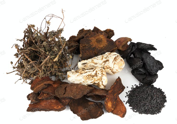 Group of Chinese Herbs for for hair and scalp treatment