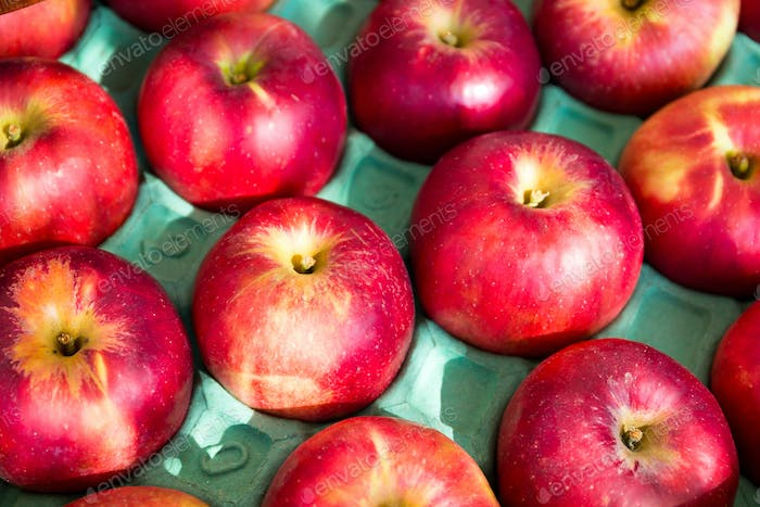 Red apple in pack