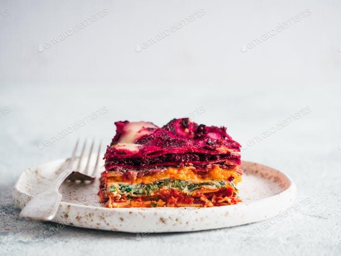 Vegetable rainbow lasagne